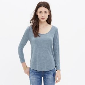 Madewell Blue Anthem Scoop Tee Long Sleeve Shirt